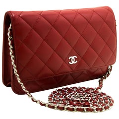Chanel Red Wallet On Chain Crossbody Clutch Lamb Shoulder Bag