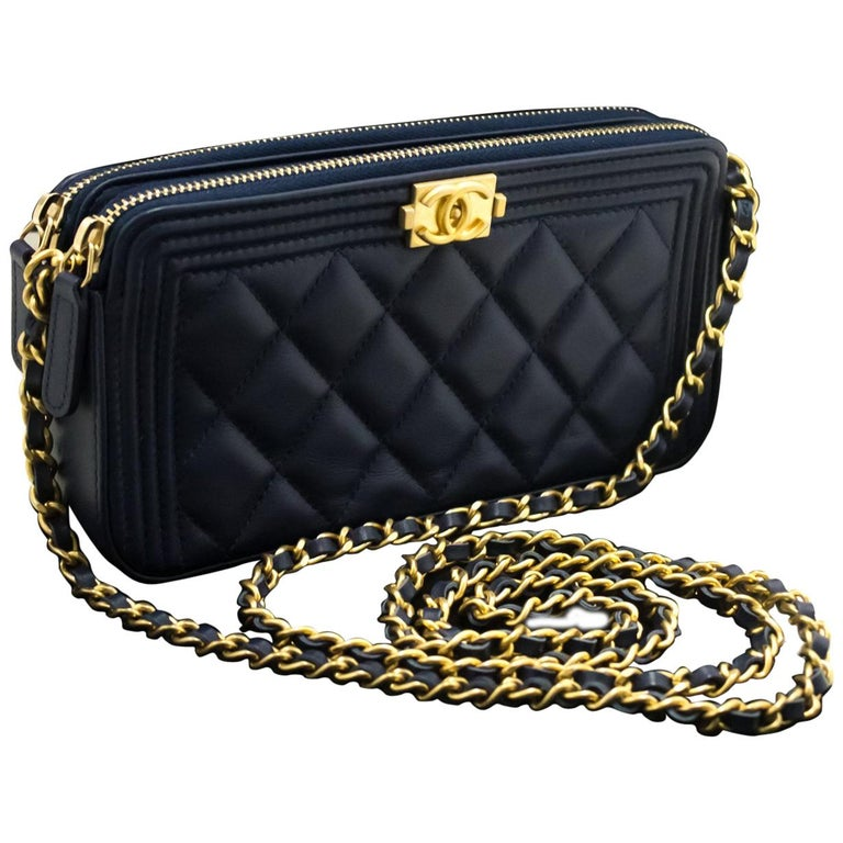 4271b95202734a CHANEL Boy Navy Wallet On Chain WOC Double Zip Shoulder Bag Lamb For Sale