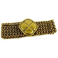 Chanel Vintage Gold Toned Quilted Medallion Chain Bracelet