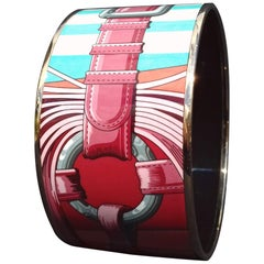 Hermès Printed Enamel Bracelet Coaching Rose Couture Rosé Gold Hdw Size GM 70