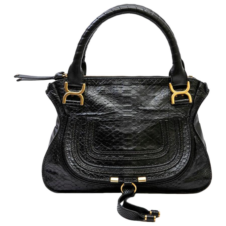 CHLOE 'Marcie' Bag in Black Python Leather