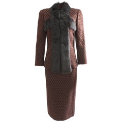 John Galliano Rex Rabbit Trim Jacket & Skirt Suit 2pc Set Silk & Wool Knit Sz 6
