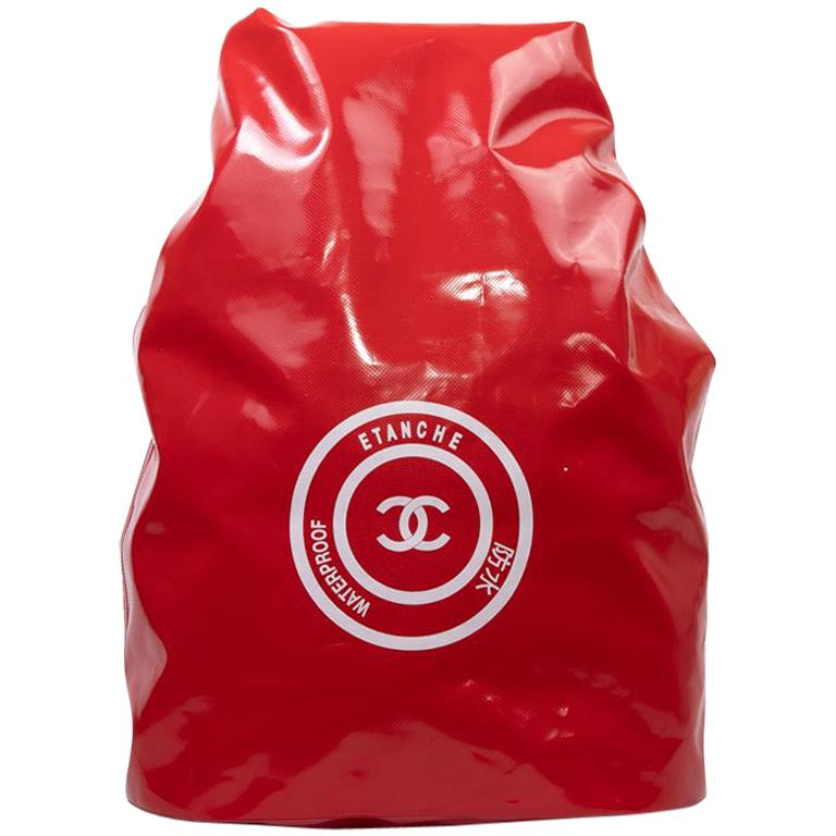 CHANEL Waterproof Red Laminated Canvas Backpack For Sale