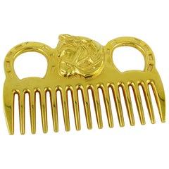 Hermès Vintage Gold Toned Horse Comb