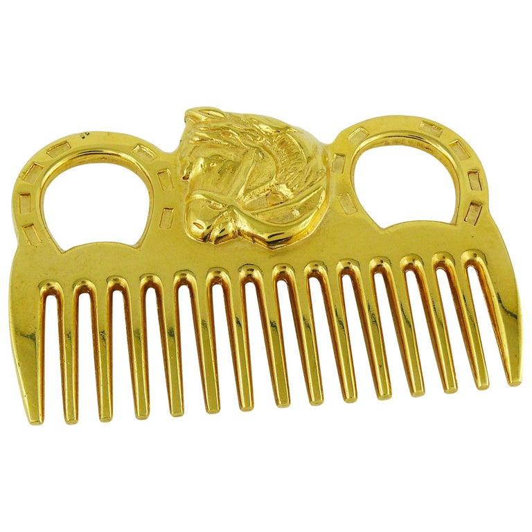 Hermès Vintage Gold Toned Horse Comb For Sale