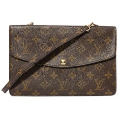 LOUIS VUITTON Vintage Double Clutch Bag in Brown Monogram Canvas