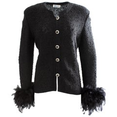 Dunollie Looms Black Knit Jacket Embellished Buttons & Ostrich Feather Cuffs M