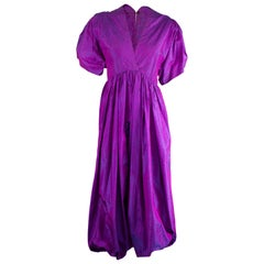 Unlabelled  Madame Grès iridescent purple silk evening pant outfit. circa 1970s
