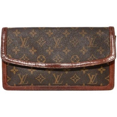 LOUIS VUITTON Unterarmtasche in braun Monogram LEINEN und dunkelbraunem Leder