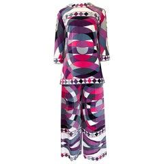 Iconic 1960s Emilio Pucci Pink Print Velvet Pant & Tunic/Dress Set