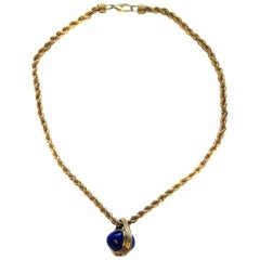 Unsigned Necklace in Twisted Rope Gilt Chain and Lapis Lazuli Style Pendant