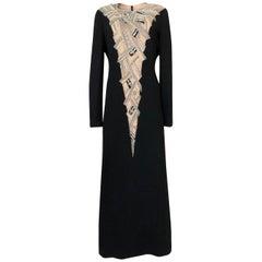 1960s Mr Blackwell Custom Label Crystal, Bead and Pearl Illusion Dress