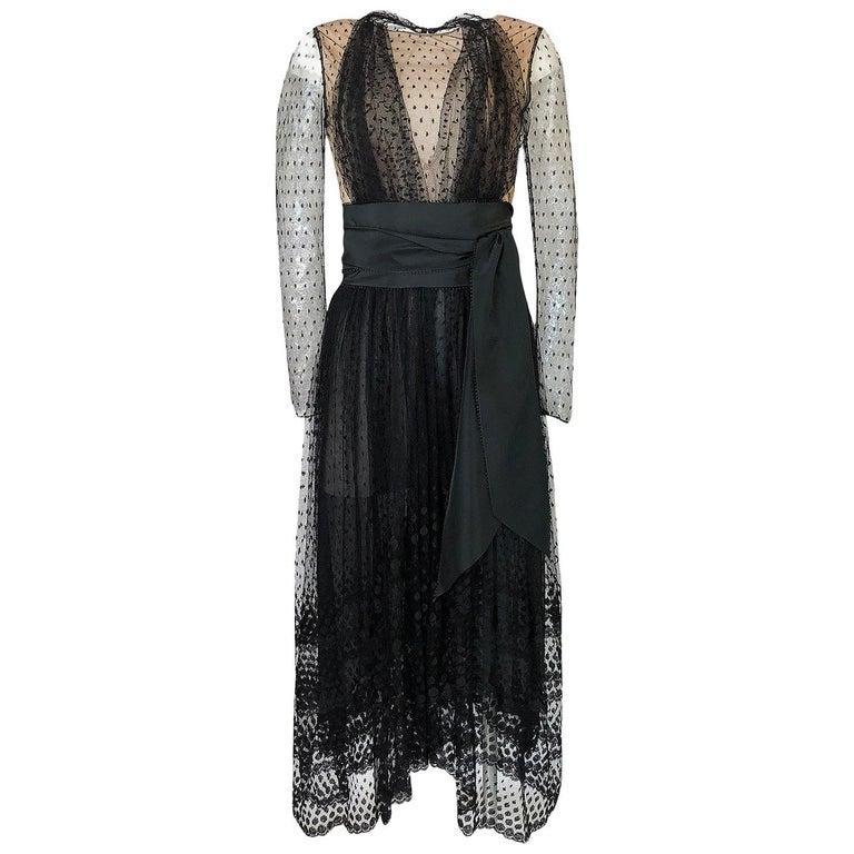 Bill Blass Couture Black Silk Swiss Dot Net Dress, 1978 For Sale