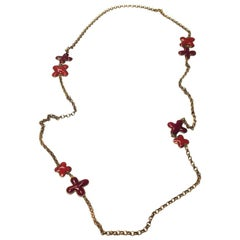 MARGUERITE DE VALOIS Long Necklace in Aged Gilt Metal and Colored Molten Glass