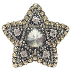 LANVIN Star Ring Star Ring in Silver Metal and White and Gold Rhinestones