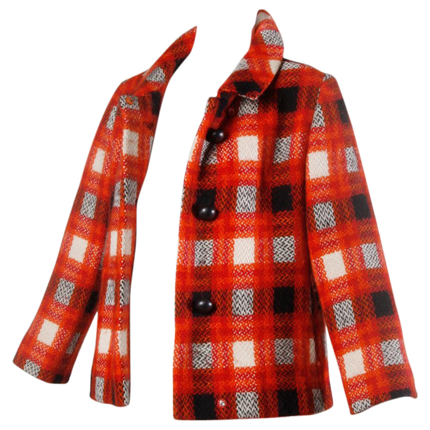 Donald Brooks 1960s Vintage Plaid Wool Jacket with Leather Bobble Buttons