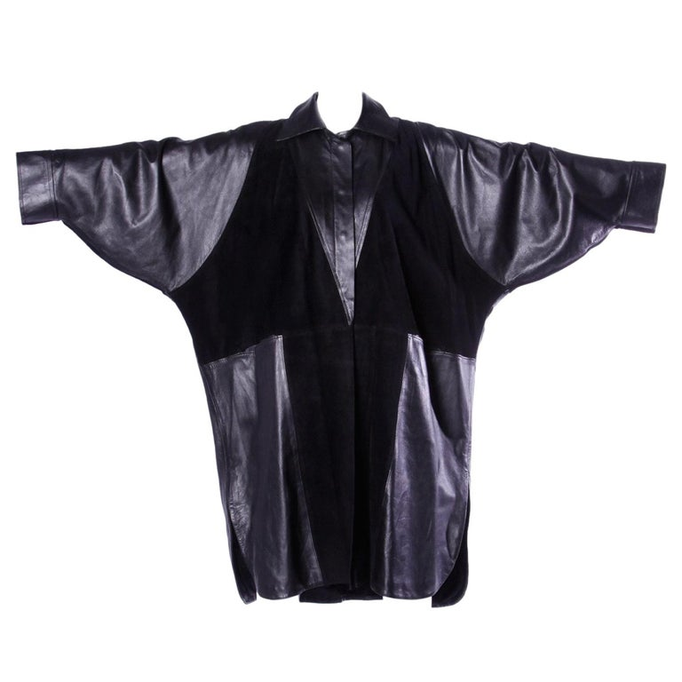 Jean Claude Jitrois Vintage 1980s Black Leather Avant Garde Coat For Sale