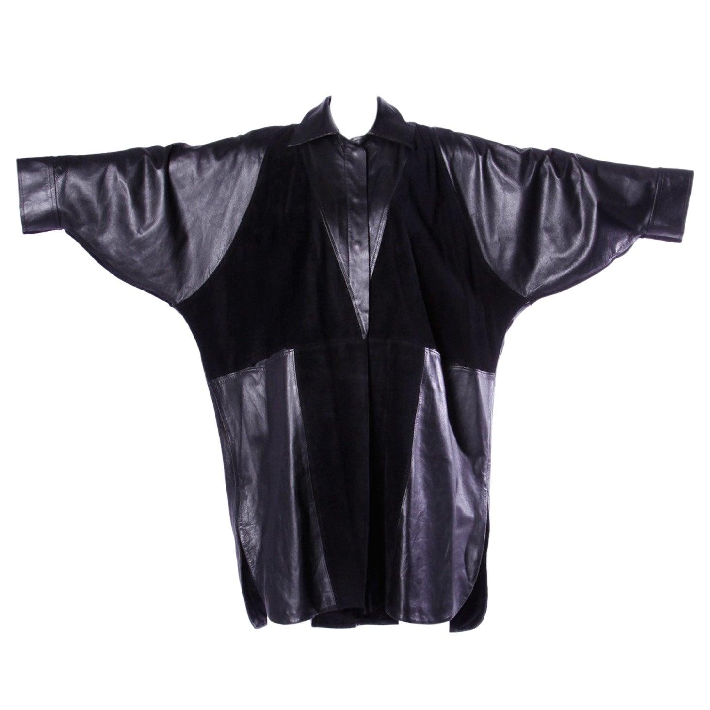 Jean Claude Jitrois Vintage 1980s Black Leather Avant Garde Coat