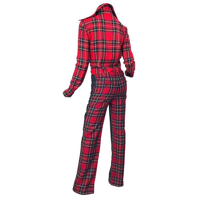 Rare 1990s Dolce & Gabbana Red Tartan Plaid Wool + Denim Flared Jeans and Shirt For Sale