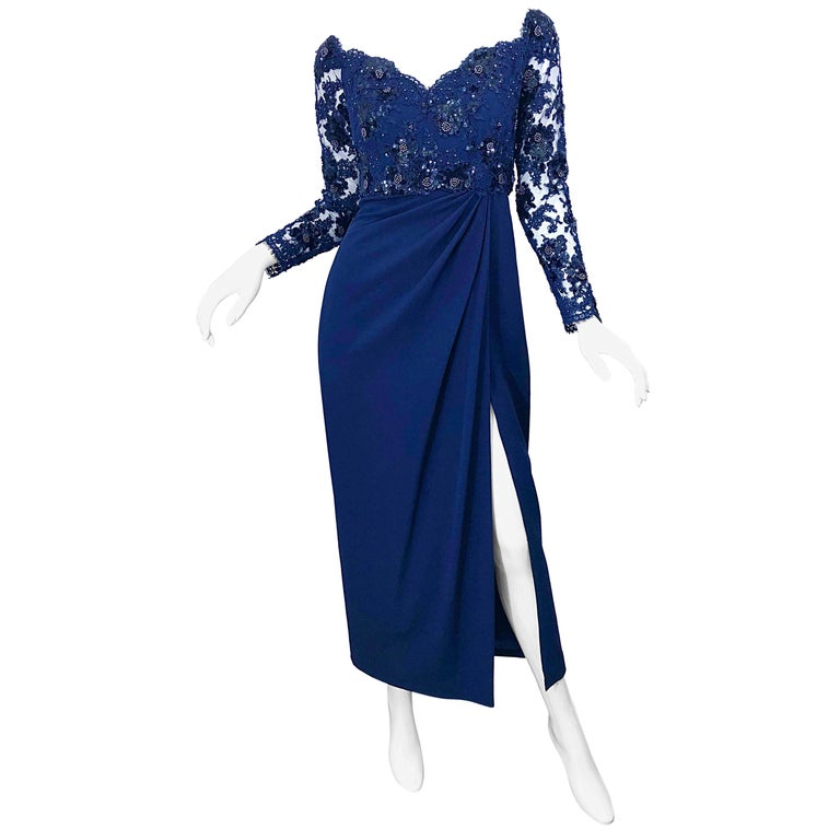 Beautiful Vintage Christian Dior Navy Blue Size 8 / 10 Lace Sequined Gown
