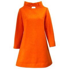 Chic 1960s Orange Wool Mod Space Age Cut Out A Line Vintage 60s Mini Dress Tunic