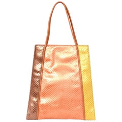 Salvatore Ferragamo Tricolor Yellow, Orange, Pink, Python Handle Bag Handbag