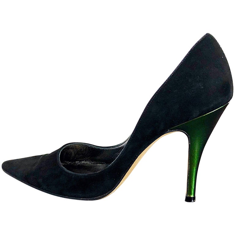 Sexy Vintage Christian Lacroix Size 37 / 7 Black + Green Suede 1990s high Heels For Sale