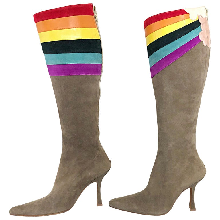 Amazing, rare impossible to find Ashley Dearborn 'Pegasus' taupe rainbow GAY PRIDE suede leather knee high heeled boots! From Dearborn's debut collection in 2009, these boots sold out immediately! Perfect taupe color matches everything. And, the