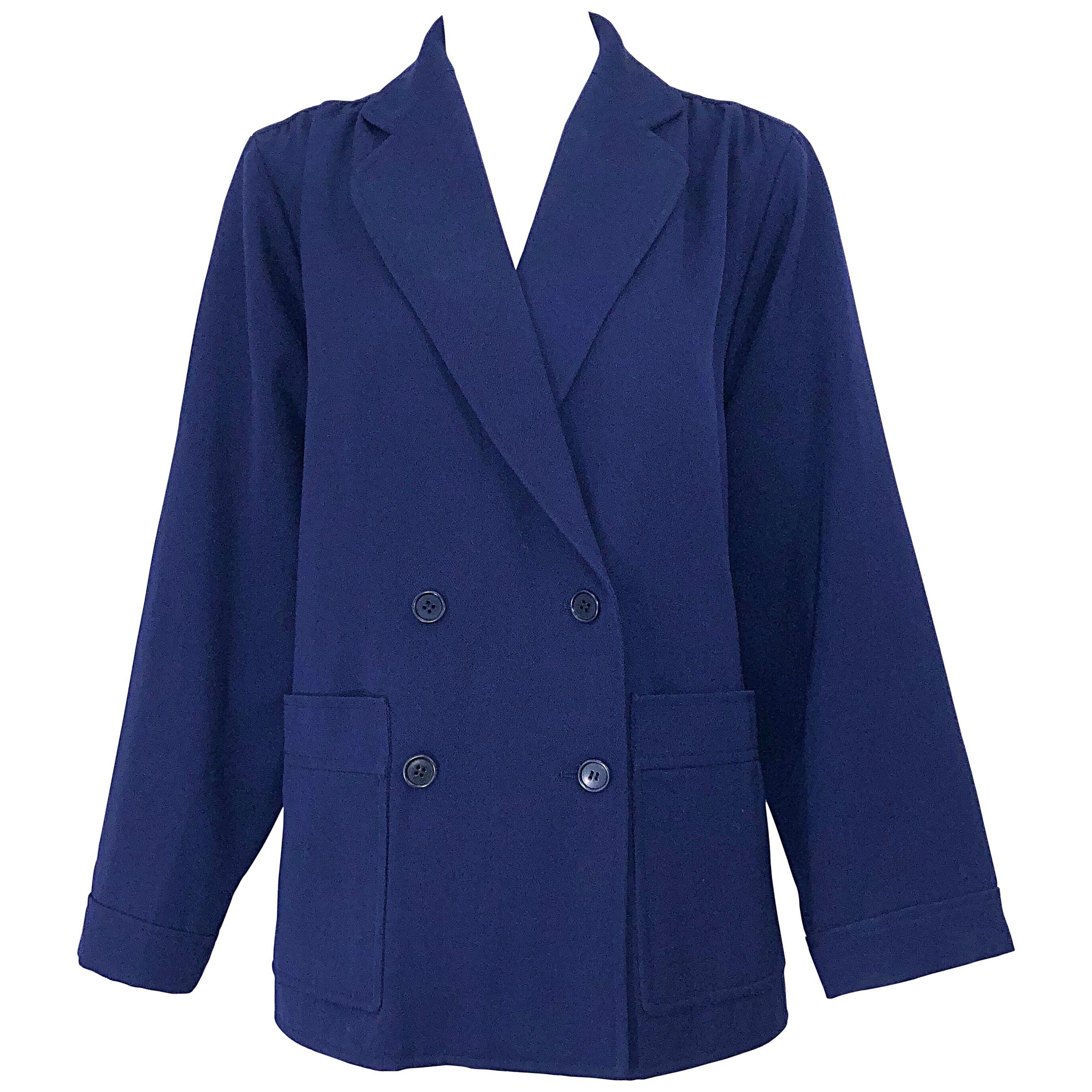 Chic 1960s Yves Saint Laurent Navy Blue Lightweight Wool Vintage Swing Jacket