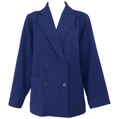 Chic 1960s Yves Saint Laurent Navy Blue Lightweight Wool Vintage Swing Jacket