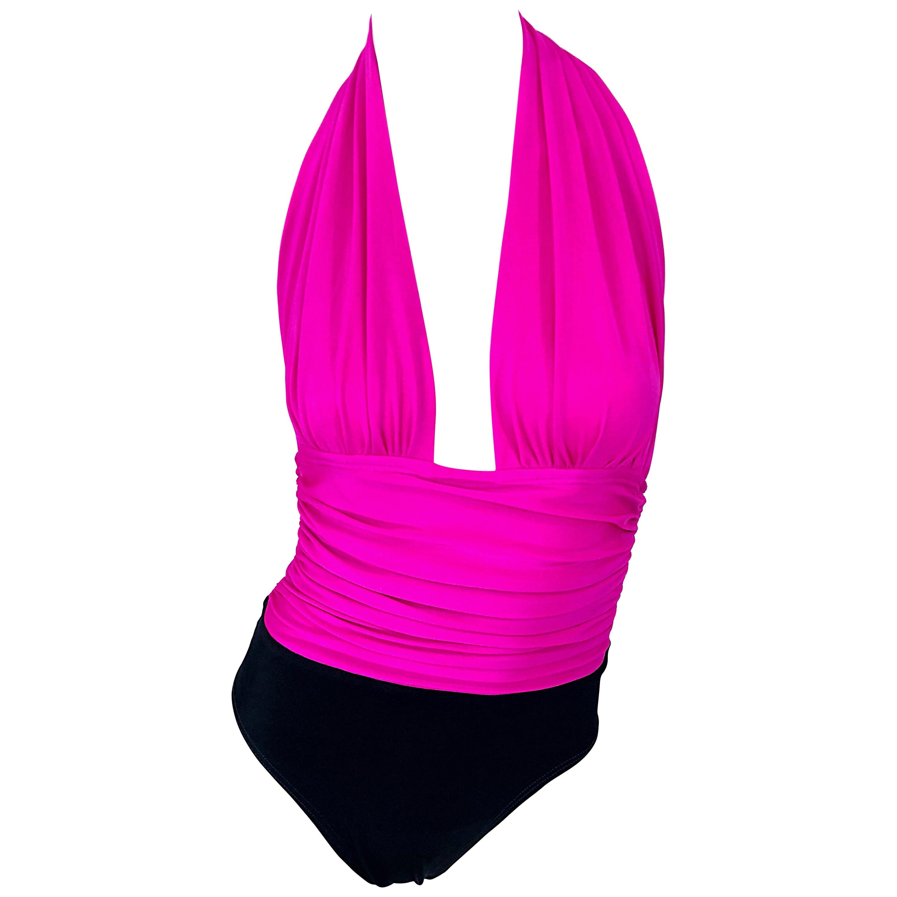 Yves Saint Laurent Size 12 / 14 Vintage Sexy Hot Pink + Black One Piece Swimsuit