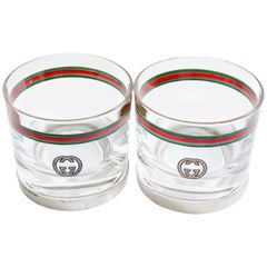 Rare Gucci Cocktail Glasses with Silver Base GG Logo Webbing 2pc Set Barware 70s