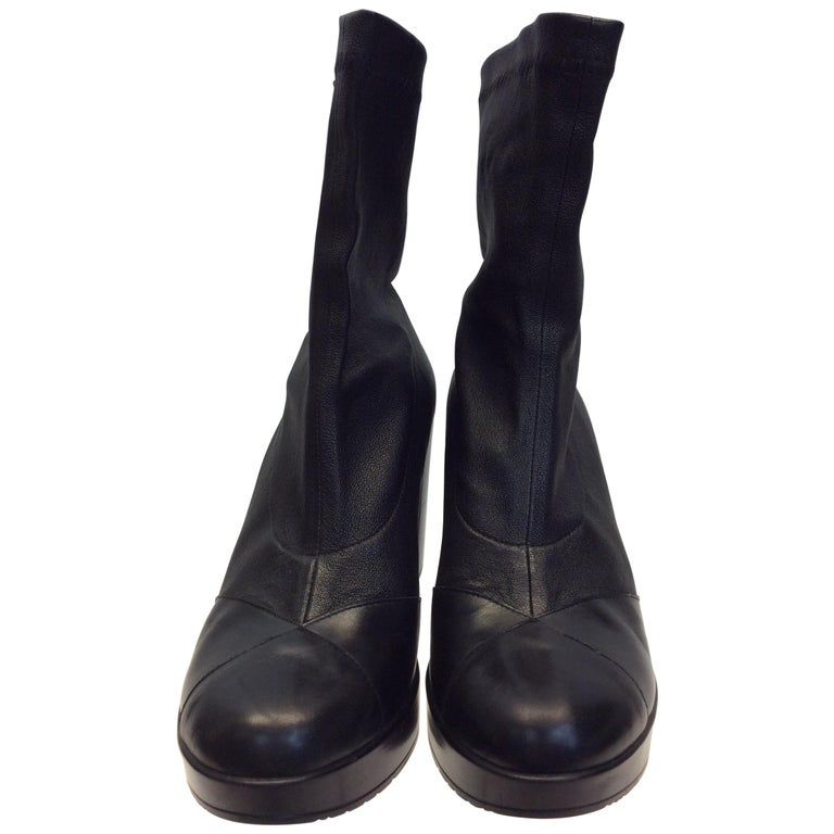 5ce081187183 Robert Clergerie Black Leather Wedge Boots For Sale at 1stdibs