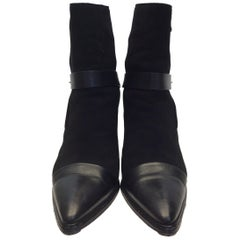 Costume National Black Leather and Suede Ankle Boots