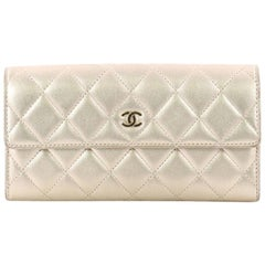 Chanel CC Gusset Flap Wallet Quilted Lambskin Long