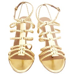 Valentino Gold Tone Braided Strappy Open Toe Sandals