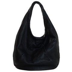 Bottega Veneta Black Cervo Deerskin Leather Large Baseball Hobo Bag