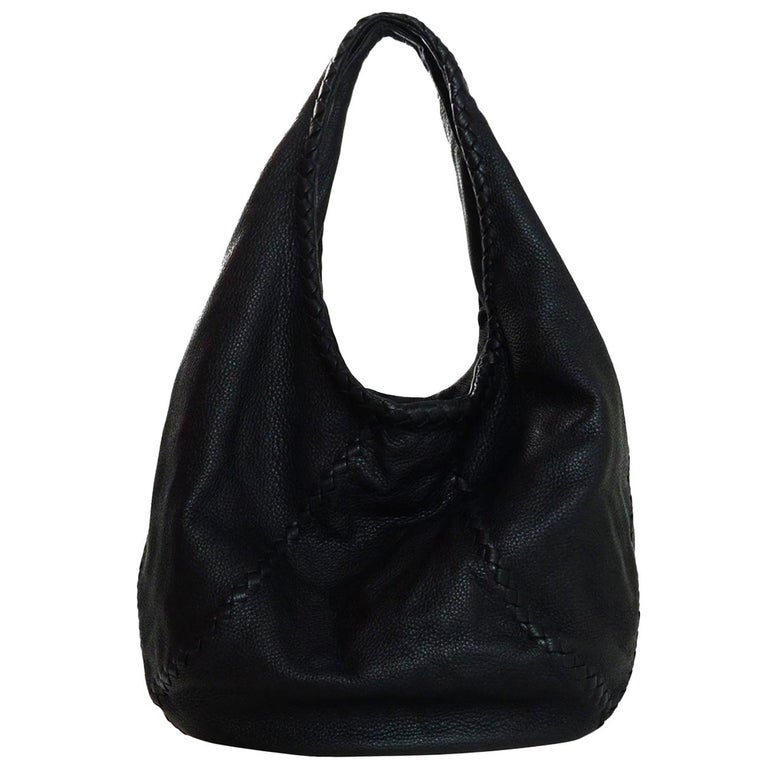 Bottega Veneta Black Cervo Deerskin Leather Large Baseball Hobo Bag For Sale 0013c0a34dc89
