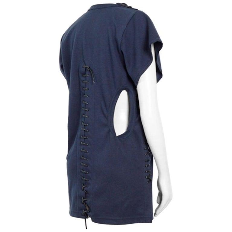 Comme des Garcons ballerina collection bleu cotton black leather lacing dress