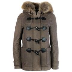 Burberry Brit Tan Tartan Plaid Wool Hooded Coat w/ Toggle Closure Sz 4