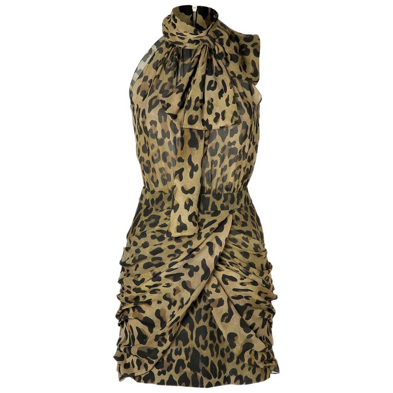 Balmain Leopard-Print Silk Dress For Sale