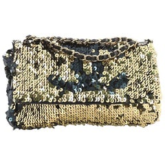 Chanel Summer Night Flap Bag Sequins with Leather Medium