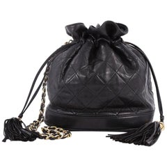 Chanel Vintage Drawstring Bucket Bag Quilted Lambskin Small