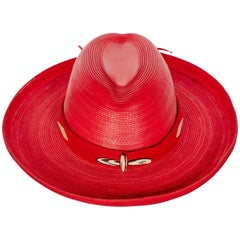 Patricia Underwood Red Leather Western Hat, 1980s