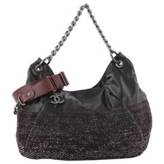 Chanel Coco Pleats Hobo Leather and Tweed Large