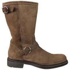Salvatore Ferragamo Brown Suede Gancini Buckle Strap Boots`
