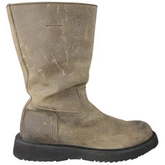 Prada Beige Distressed Suede Rubber Sole Calf Boot / Shoes