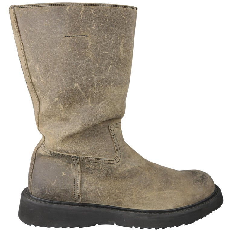 Prada Beige Distressed Suede Rubber Sole Calf Boot / Shoes For Sale
