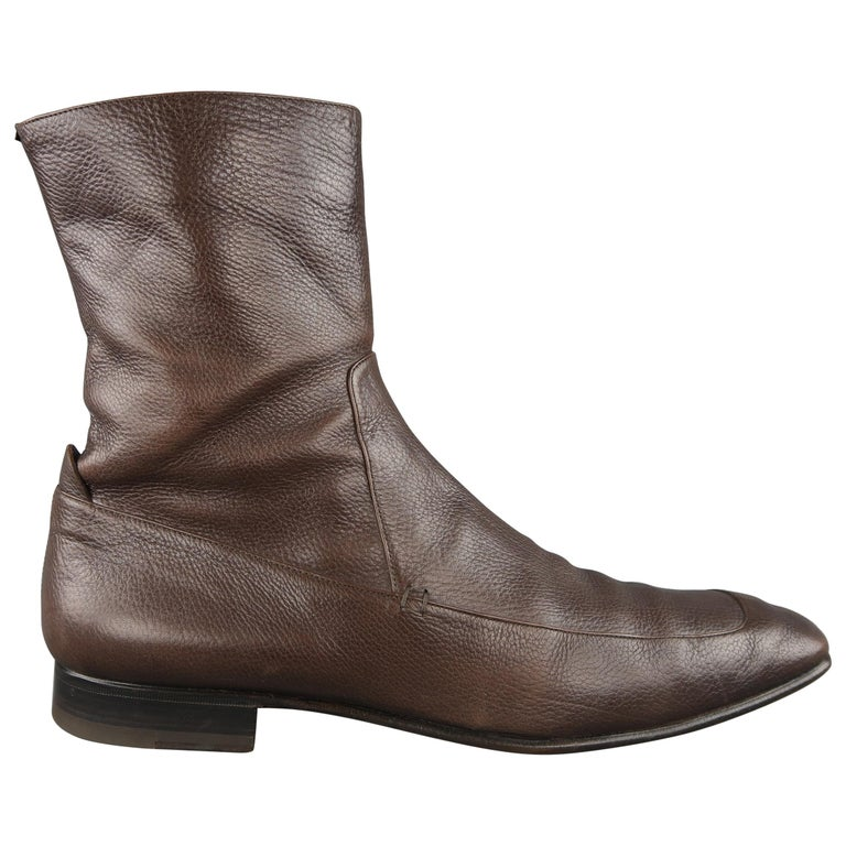 9fe5f5b8cd3 Yves Saint Laurent Brown Leather Apron Toe Ankle Boots / Shoes For Sale