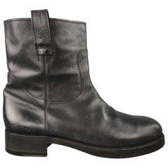 Maison Martin Margiela Black Leather Chunky Sole Biker Boots